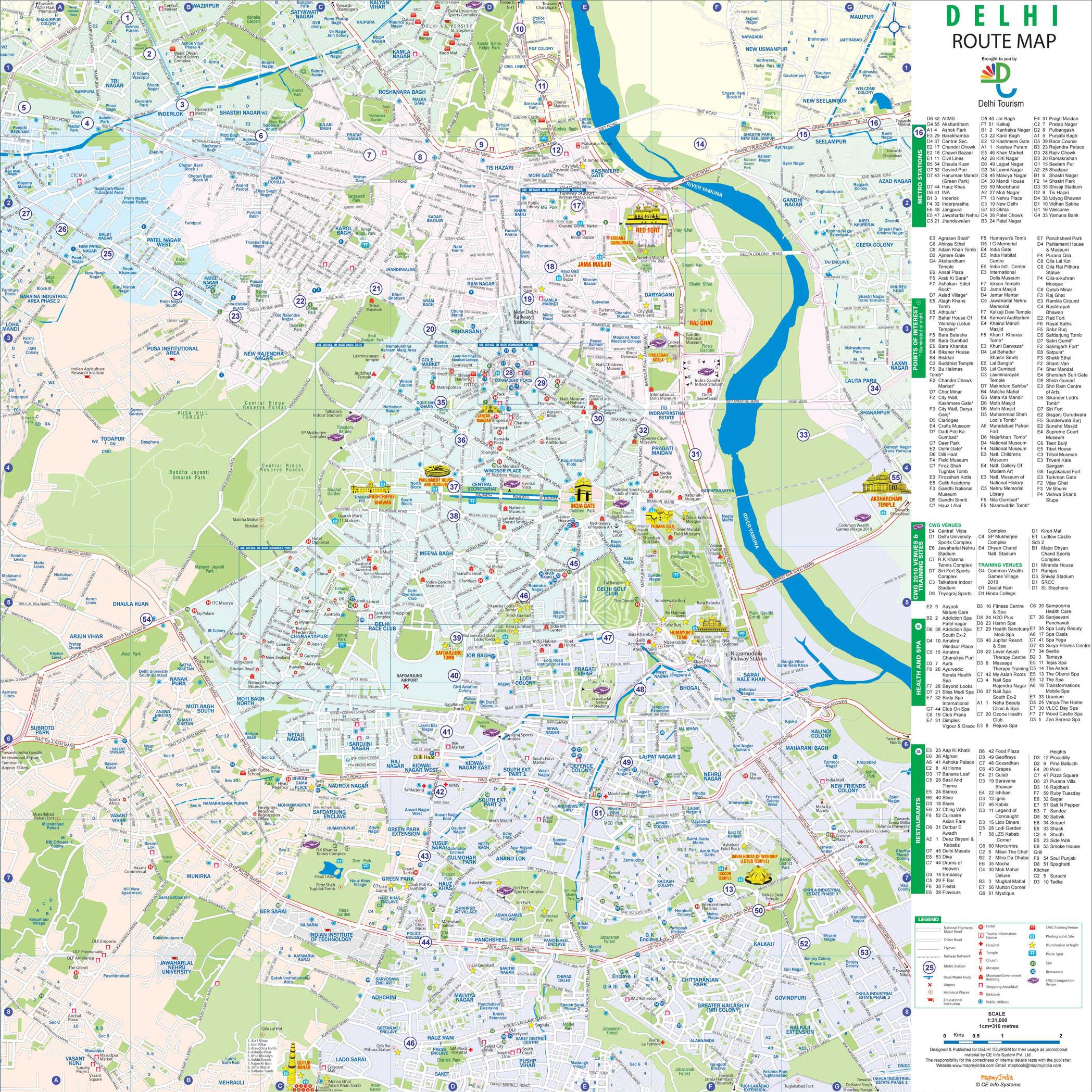 Delhi Tourist Map Map of Delhi ::